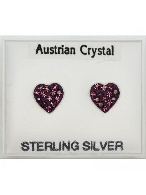 Silver Heart Studs - Asst. Colours (7mm)