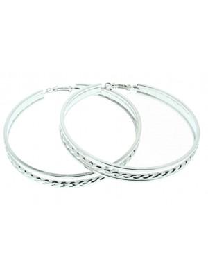 Silver Patterned Hoop Earrings - 7cm
