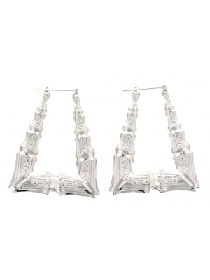 Silver Triangle Bamboo Hoop Earrings - 7.5cm