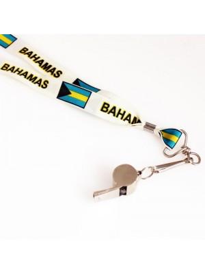 Silver Whistle With Lanyard - Bahamas Flag Design