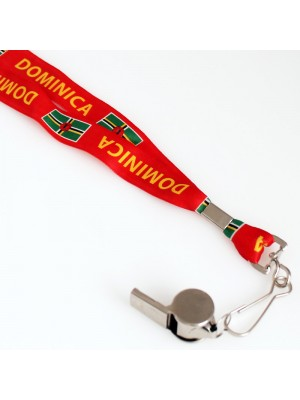 Silver Whistle With Lanyard - Dominica Flag Design