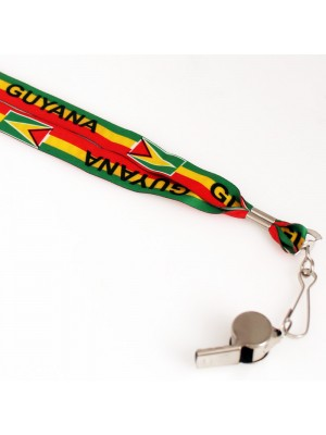 Silver Whistle With Lanyard - Guyana Flag Design