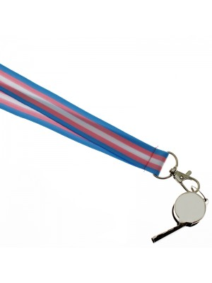 Wholesale Silver Whistle With Lanyard - Transgender Colours