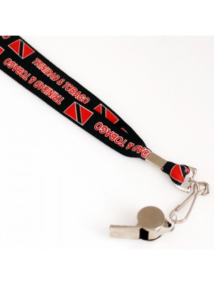 Silver Whistle With Lanyard - Trinidad & Tobago Flag Design