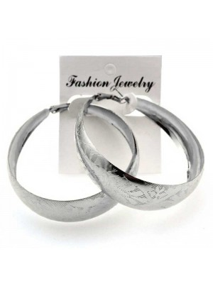 Wholesale Silver Bamboo Hoop Earrings - 6cm