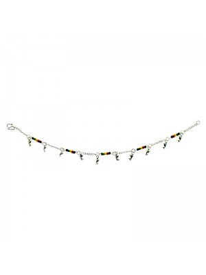 Silver Chained Rasta Beaded Anklet With Mini Dolphins