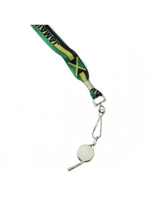 Silver Whistle With Lanyard - Jamaica Flag Design