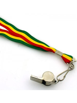 Silver Whistle With Lanyard - Rasta Colours