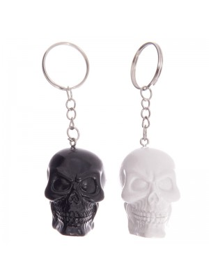 Wholesale Black & White Skull Keyring