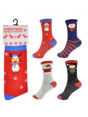 Wholesale Ladies Cotton Rich Assorted Christmas Design Socks(UK 4-7)