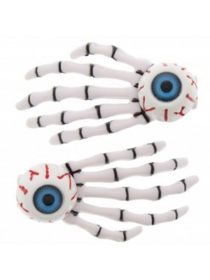 Skeleton Hands and Eye Ball Design Hair Clip - White