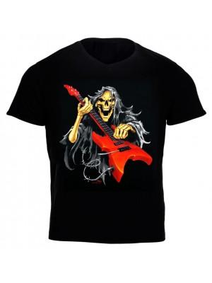 Skeleton Playing Electric Guitar Printed T-Shirt