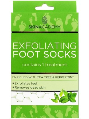 Skin Academy Exfoliating Foot Socks-Tea Tree & Peppermint