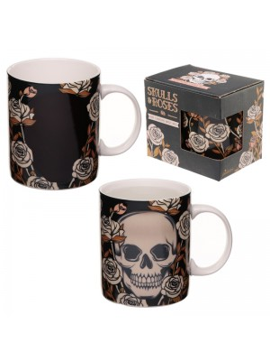 Wholesale Skull & Roses Heat Changing New Bone China Mug