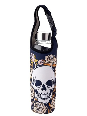 Wholesale Skull & Roses Reusable Glass Water Bottle With Sleeve & Holder