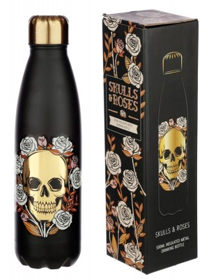 Wholesale Skull & Roses Reusable Stainless Steel Hot & Cold Thermal Insulated Drinks Bottle - 500ml