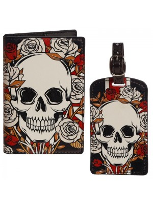 Wholesale Skull and Roses Passport Cover & Luggage Tag Set