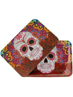 Wholesale Skull Metal Rolling Tray With Magnetic Lid - Mini (18 x 12.5 cm)