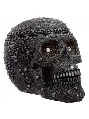 Sliver Beaded Skull Head Large