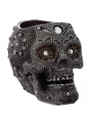Sliver Beaded Skull Head Tea Light Holder