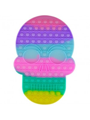 Wholesale Push & Pop Bubble Rainbow X-Large Fidget Toy - Skull
