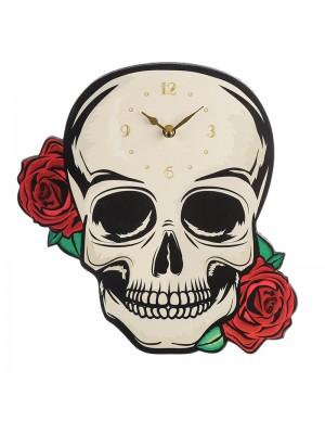 Skull with Roses Novelty Clock