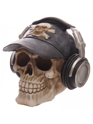 Skull Moneybox with Headphones & Baseball Cap
