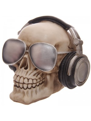 Skull Moneybox with Headpones & Sunglasses