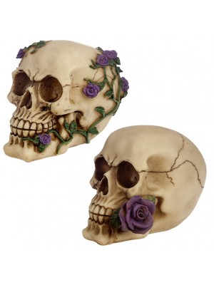 Wholesale Skull Ornament with Rose Decoration - 10.5cm