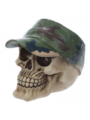 Skull with Camouflage Forage Cap Decoration