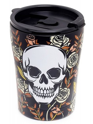 Skulls & Roses Reusable Stainless Hot & Cold Thermal Insulated Food & Drink Cup - 300ml