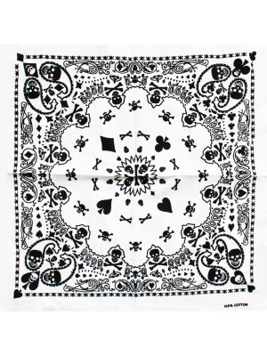 Skulls & Card Deck Paisley Bandana (Thick Patterns) - White
