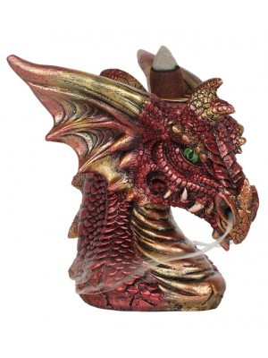 Small Red Dragon Head Backflow Incense Burner - 10.5cm