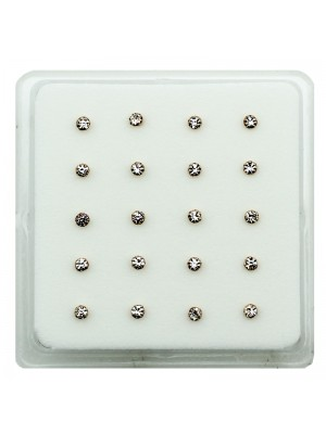 Small Round Crystal Nose Studs - Rose Gold