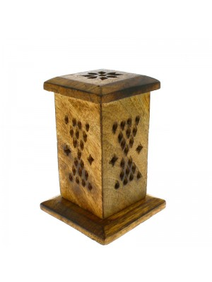 Small Wooden Incense Cone Tower - 4.5''