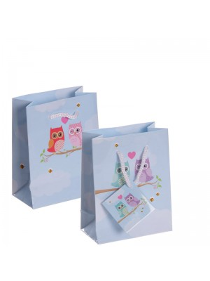 Small Owls Design Gift Bags (11x 14x 6cm)