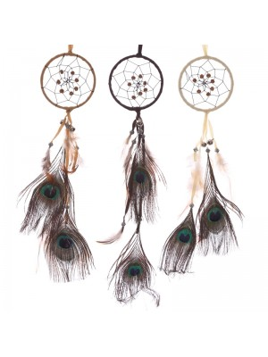 Small Peacock Feather Dreamcatcher - Assorted Colours
