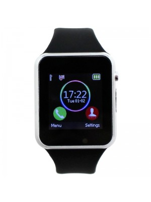 Wholesale Smart Watch With Rubber Watch Strap - Black & Silver