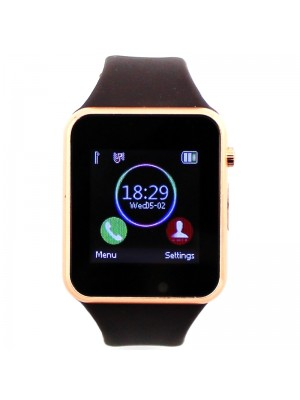 Smart Watch With Rubber Watch Strap - Brown