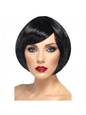 Smiffys Babe Bob Party Wig with Fringe - Black