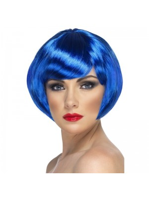 Smiffys Babe Bob Party Wig with Fringe - Blue