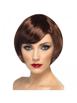 Smiffys Babe Bob Party Wig with Fringe - Brown