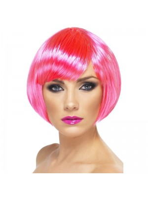 Smiffys Babe Bob Party Wig with Fringe - Pink