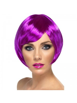 Smiffys Babe Bob Party Wig with Fringe - Purple
