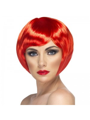 Smiffys Babe Bob Party Wig with Fringe - Red