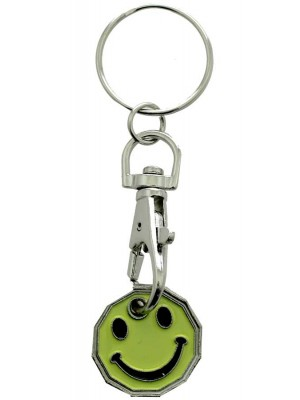 Wholesale Trolley Coin Keyrings-Smiley(Green)