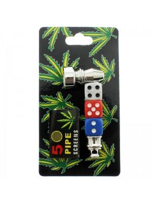 Smoking Metal Pipe Dice Design Assorted 7cm