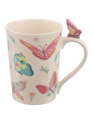 Butterfly on Handle Shaped Handle Mug