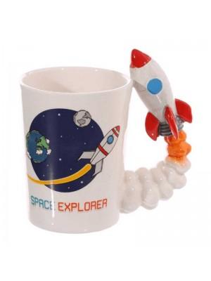 Wholesale Novelty Shaped Handle Ceramic Space Mug