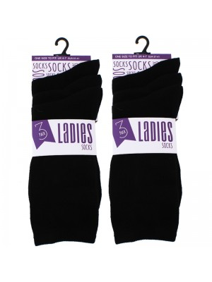 Wholesale Ladies Plain Black Socks Size 4-7